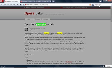 Opera 10.5 pre-alpha:ページ内検索