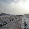 写真: 雪の八田川