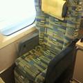 写真: 新潟駅到着。降り際に今日座った座席を1枚。切符はもちろんテイクアウ...