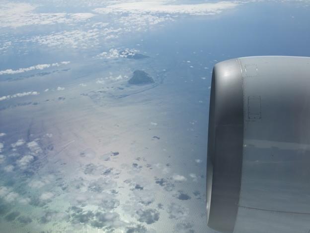 機窓から見る天売島・焼尻島