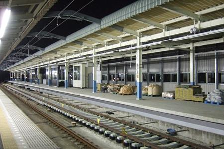 工事中の東松戸駅新ホーム(2008/10/13)