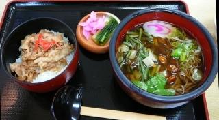 餅豚山菜蕎麦