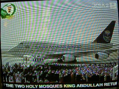 国王専用機到着