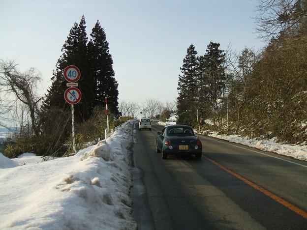 福島県道64号の冬 - 明ル坂 - 2ndヘアピン手前
