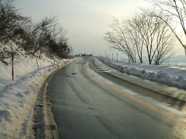 福島県道64号の冬 - 明ル坂 - 3rdヘアピンカーブ - 3
