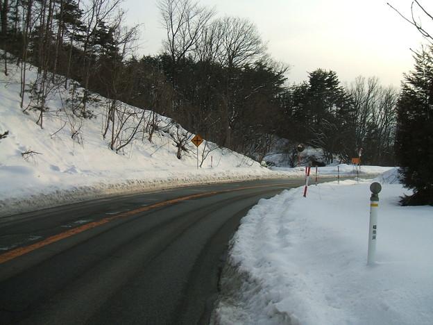 福島県道64号の冬 - 明ル坂 - 6thヘアピン下り
