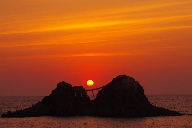 夕陽の二見ヶ浦(^0^)